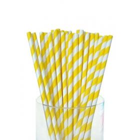 Καλαμάκια χάρτινα ριγέ κίτρινο - ΚΩΔ:4283-JP