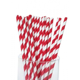 Καλαμάκια χάρτινα ριγέ κόκκινο - ΚΩΔ:4356-JP