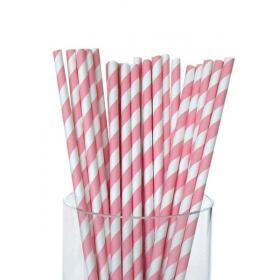 Καλαμάκια χάρτινα ριγέ ροζ - ΚΩΔ:4507-JP