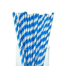 Καλαμάκια χάρτινα ριγέ τυρκουάζ - ΚΩΔ:5292-JP