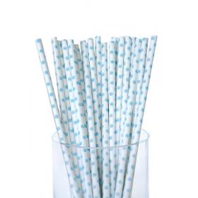 Καλαμάκια χάρτινα λευκό σιέλ πουά - ΚΩΔ:5293-JP