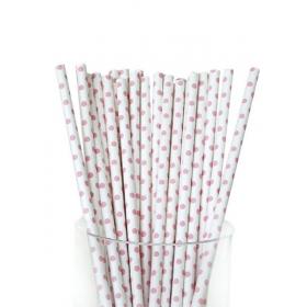 Καλαμάκια χάρτινα λευκό ροζ πουά - ΚΩΔ:5294/K-JP