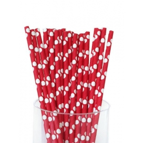 Καλαμάκια χάρτινα κόκκινο λευκό πουά - ΚΩΔ:6917/K-JP