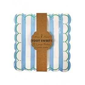 Πιάτο ριγέ σιέλ Toot Sweet - ΚΩΔ:113824-JP