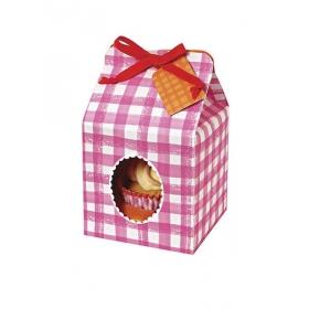 Cupcake box ροζ καρώ - ΚΩΔ:45-0628-JP