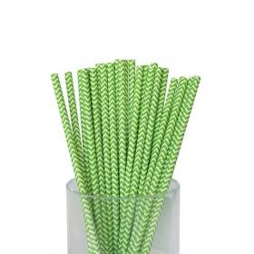 Καλαμάκια χάρτινα λαχανί ζικ ζακ - ΚΩΔ:7954-JP