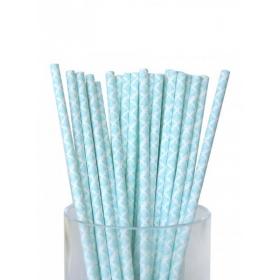 Καλαμάκια χάρτινα σιέλ damask - ΚΩΔ:7960-JP