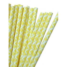 Καλαμάκια χάρτινα κίτρινα damask - ΚΩΔ:7963-JP
