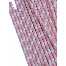 Καλαμάκια χάρτινα ροζ με λευκό μεγάλο πουά - ΚΩΔ:8788-JP