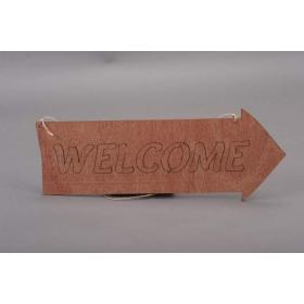 ΠΙΝΑΚΙΔΑ ΞΥΛΙΝΗ WELCOME ΜΕ ΣΧΗΜΑ ΒΕΛΟΥΣ 16Χ50cm - ΚΩΔ:3150897-1-RD