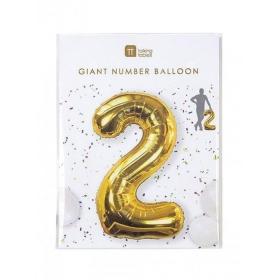 Μπαλόνι χρυσό foil αριθμός 2- ΚΩΔ:BDAY-BALL-2-JP