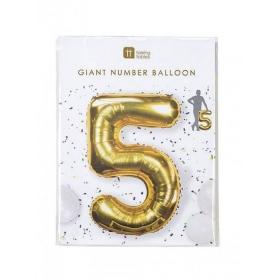 Μπαλόνι χρυσό foil αριθμός 5 - ΚΩΔ:BDAY-BALL-5-JP