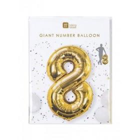 Μπαλόνι χρυσό foil αριθμός 8 - ΚΩΔ:BDAY-BALL-8-JP