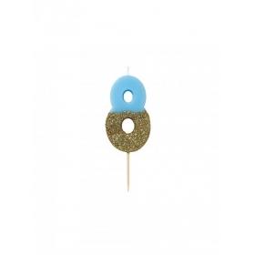 Κεράκι γενεθλίων Νο 8  We ♥ Birthdays Boy - ΚΩΔ:BDAY-CANDLE-BLUE-8-JP