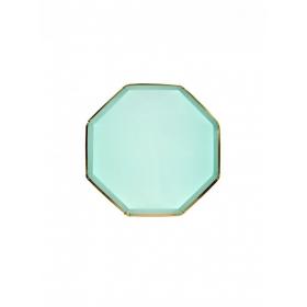 Πιάτο Φαγητού Οκτάγωνο Mέντα με Χρυσή Λεπτομέρεια - ΚΩΔ:181171-JP