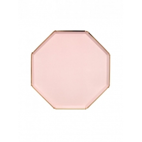 Πιάτο Φαγητού Οκτάγωνο Ροζ με Χρυσή Λεπτομέρεια - ΚΩΔ:181225-JP