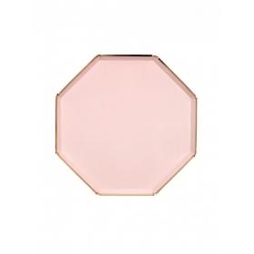 Πιάτο Γλυκού Οκτάγωνο Ροζ με Χρυσή Λεπτομέρεια - ΚΩΔ:181234-JP