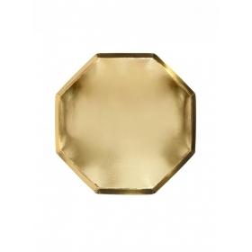 Χάρτινο Πιάτο Φαγητού Οκτάγωνο Χρυσό - ΚΩΔ:181657-JP