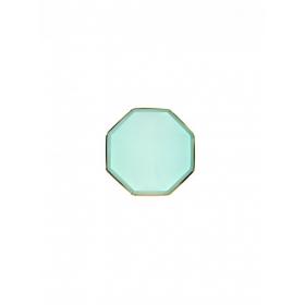Πιάτο Mini Οκτάγωνο Μέντα με Χρυσή Λεπτομέρεια - ΚΩΔ:184636-JP