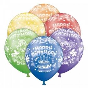 ΤΥΠΩΜΕΝΑ ΜΠΑΛΟΝΙΑ LATEX «Happy Birthday» ΣΕ 6 ΧΡΩΜΑΤΑ 12΄΄ (30cm)  – ΚΩΔ.:1300081-BB