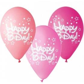 ΤΥΠΩΜΕΝΑ ΜΠΑΛΟΝΙΑ LATEX «Happy Bday» ΣΕ 3 ΑΠΟΧΡΩΣΕΙΣ ΤΟΥ ΡΟΖ 13΄΄ (33cm)  – ΚΩΔ.:13512533a-BB