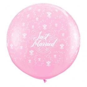 ΡΟΖ ΜΠΑΛΟΝΙΑ LATEX 90cm «Just Married» ΜΕ ΛΟΥΛΟΥΔΙΑ ΚΑΙ ΠΕΤΑΛΟΥΔΕΣ – ΚΩΔ.:13530110-BB