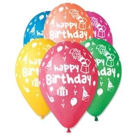 ΤΥΠΩΜΕΝΑ ΜΠΑΛΟΝΙΑ LATEX «Happy Birthday» ΜΕ ΖΟΓΚΛΕΡ ΣΕ 6 ΧΡΩΜΑΤΑ 13΄΄ (33cm)  – ΚΩΔ.:13613209-BB