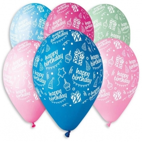 ΤΥΠΩΜΕΝΑ ΜΠΑΛΟΝΙΑ LATEX «Happy Bday» ΜΕ ΤΟΥΡΤΑ ΚΑΙ ΔΩΡΑ ΣΕ 6 ΧΡΩΜΑΤΑ 12΄΄ (30cm)  – ΚΩΔ.:13613217-BB