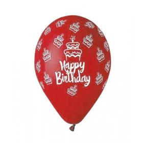 ΤΥΠΩΜΕΝΑ ΜΠΑΛΟΝΙΑ LATEX ΚΟΚΚΙΝΑ «Happy Birthday» CAKE 13΄΄ (33cm)  – ΚΩΔ.:13613249c-BB