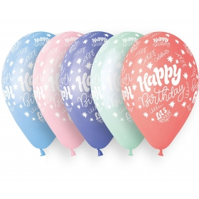 ΤΥΠΩΜΕΝΑ ΜΠΑΛΟΝΙΑ LATEX «Happy Birthday Lets Party» ΣΕ 5 ΧΡΩΜΑΤΑ 13΄΄ (33cm)  – ΚΩΔ.:13613250-BB