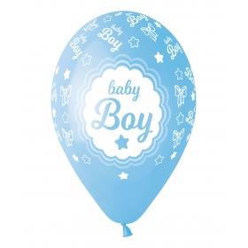 ΓΑΛΑΖΙΑ ΜΠΑΛΟΝΙΑ «Baby Boy» ΜΕ ΑΣΤΕΡΑΚΙΑ 13'' (33cm) – ΚΩΔ.:13613252-BB