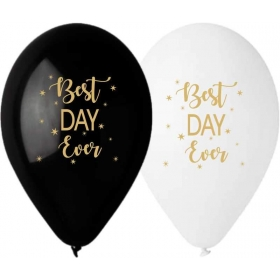 ΤΥΠΩΜΕΝΑ ΜΠΑΛΟΝΙΑ LATEX ΛΕΥΚΟ ΚΑΙ ΜΑΥΡΟ «Best Day Ever» 13΄΄ (33cm)  – ΚΩΔ.:13613266-BB