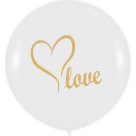 ΑΣΠΡΟ ΜΠΑΛΟΝΙ ΤΥΠΩΜΕΝΟ ΜΕ ΧΡΥΣΟ «Love» 19'' (48cm) – ΚΩΔ.:13619001-BB