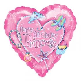 ΜΠΑΛΟΝΙ FOIL ΓΕΝΕΘΛΙΩΝ ΚΑΡΔΙΑ «Happy Birthday Princess» 45cm – ΚΩΔ.:119754-BB