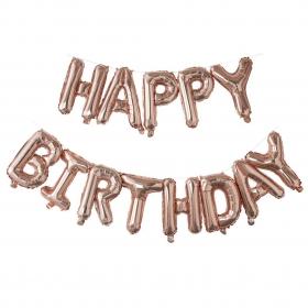 ΜΠΑΛΟΝΙ FOIL ΓΕΝΕΘΛΙΩΝ ΡΟΖ ΧΡΥΣΟ «Happy Birthday» 40cm – ΚΩΔ.:207116-BB