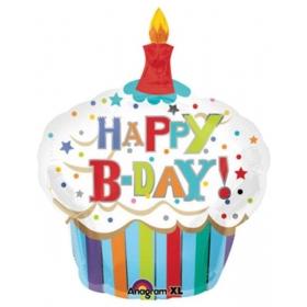 ΜΠΑΛΟΝΙ FOIL ΓΕΝΕΘΛΙΩΝ SUPERSHAPE «Happy Birthday» CUPCAKE ΜΕ ΡΙΓΕΣ 74x91cm – ΚΩΔ.:524477-BB