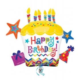 ΜΠΑΛΟΝΙ FOIL ΓΕΝΕΘΛΙΩΝ SUPERSHAPE CUPCAKE «Happy Birthday» ΜΕ ΑΣΤΕΡΙΑ 71x66cm – ΚΩΔ.:528796-BB