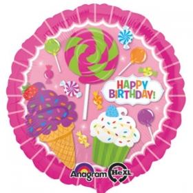 ΜΠΑΛΟΝΙ FOIL ΓΕΝΕΘΛΙΩΝ «Happy Birthday» ΜΕ ΓΛΥΦΙΤΖΟΥΡΙΑ ΚΑΙ CUPCAKES 45cm – ΚΩΔ.:531615-BB