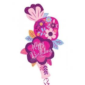 ΜΠΑΛΟΝΙ FOIL ΓΕΝΕΘΛΙΩΝ SUPERSHAPE ΒΑΖΟ ΜΕ ΛΟΥΛΟΥΔΙΑ «Happy Birthday» 104x71cm – ΚΩΔ.:533603-BB