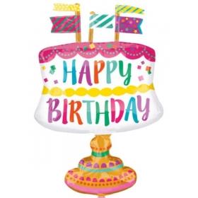 ΜΠΑΛΟΝΙ FOIL ΓΕΝΕΘΛΙΩΝ SUPERSHAPE «Happy Birthday» ΤΟΥΡΤΑ ΜΕ ΣΗΜΑΙΟΥΛΕΣ 55x76cm – ΚΩΔ.:533608-BB