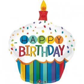 ΜΠΑΛΟΝΙ FOIL ΓΕΝΕΘΛΙΩΝ SUPERSHAPE BIRTHDAY CUPCAKE 73x91cm – ΚΩΔ.:534442-BB