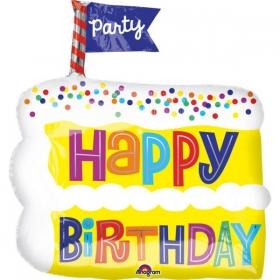ΜΠΑΛΟΝΙ FOIL ΓΕΝΕΘΛΙΩΝ SUPERSHAPE «Happy Birthday» ΚΟΜΜΑΤΙ ΤΟΥΡΤΑΣ 45x50cm – ΚΩΔ.:535152-BB