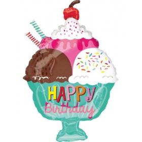 ΜΠΑΛΟΝΙ FOIL ΓΕΝΕΘΛΙΩΝ SUPERSHAPE «Happy Birthday» ΠΑΓΩΤΟ ΜΕ ΣΑΝΤΙΓΥ 38x58cm – ΚΩΔ.:535617-BB