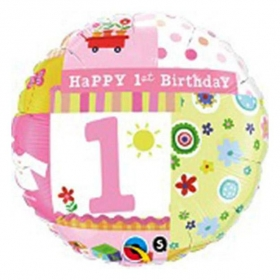 ΜΠΑΛΟΝΙ FOIL ΓΕΝΕΘΛΙΩΝ «Happy 1st Birthday» ΓΙΑ ΚΟΡΙΤΣΙ 45cm – ΚΩΔ.:81838-BB