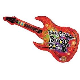 ΜΠΑΛΟΝΙ FOIL ΓΕΝΕΘΛΙΩΝ SUPERSHAPE ΗΛΕΚΤΡΙΚΗ ΚΙΘΑΡΑ «Happy Birthday Rock Star» 114cm – ΚΩΔ.:85590-BB