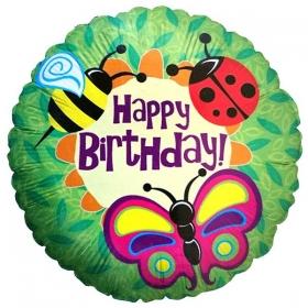 ΜΠΑΛΟΝΙ FOIL ΓΕΝΕΘΛΙΩΝ «Happy Birthday» ΜΕ ΖΟΥΖΟΥΝΑΚΙΑ 45cm – ΚΩΔ.:86029-BB