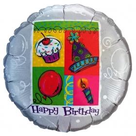 ΜΠΑΛΟΝΙ FOIL ΓΕΝΕΘΛΙΩΝ «Happy Birthday» ΑΣΗΜΙ 45cm – ΚΩΔ.:99115-BB