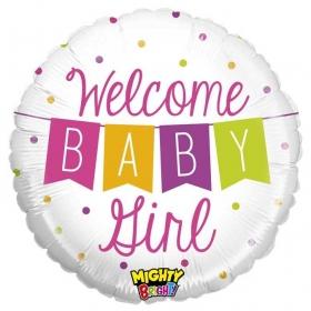 ΜΠΑΛΟΝΙ FOIL 45cm ΓΙΑ ΓΕΝΝΗΣΗ «Welcome Baby Girl» BANNER – ΚΩΔ.:14344-BB