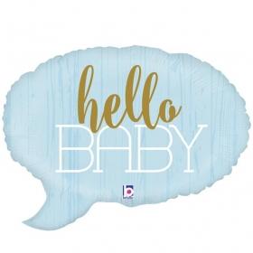 ΜΠΑΛΟΝΙ FOIL 61cm ΓΙΑ ΓΕΝΝΗΣΗ SUPERSHAPE «Hello Baby» ΓΑΛΑΖΙΟ – ΚΩΔ.:35691-BB