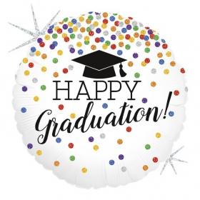 """ΜΠΑΛΟΝΙ FOIL 18""""(46cm) ΜΕ ΓΚΛΙΤΕΡ ΓΙΑ ΑΠΟΦΟΙΤΗΣΗ Happy Graduation – ΚΩΔ.:36551-BB"""